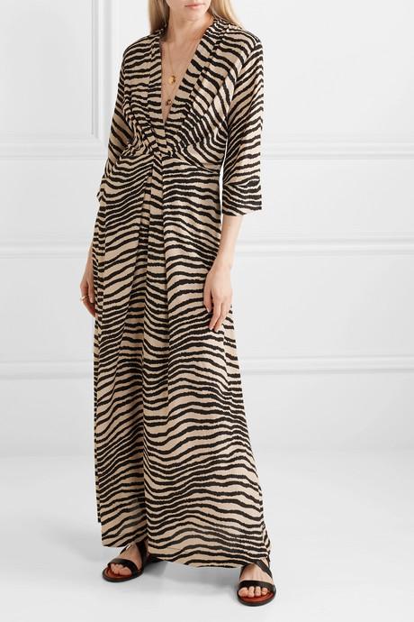 Diya zebra-print gathered crepe de chine maxi dress