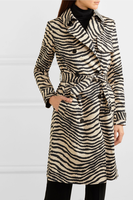 By Malene Birger Rainie zebra-print belted cotton-gabardine trench coat