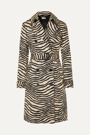 By Malene Birger Rainie zebra-print belted cotton-gabardine trench coat