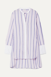 By Malene Birger Micki oversized poplin-trimmed striped cotton-blend voile tunic