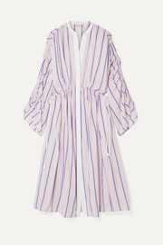 By Malene Birger Genua oversized ruched striped cotton-blend midi dress