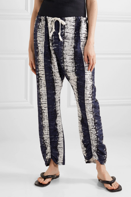Delma printed cotton and silk-blend pants