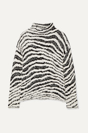 By Malene Birger Dianella zebra-intarsia cotton-blend turtleneck sweater