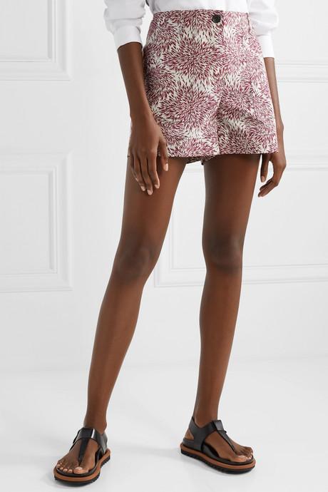 Danise printed cotton-poplin shorts