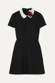 REDValentino Embellished velvet-appliquéd cady mini dress
