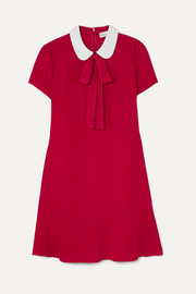 REDValentino Pussy-bow crepe de chine mini dress