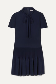 REDValentino Pussy-bow pleated georgette mini dress