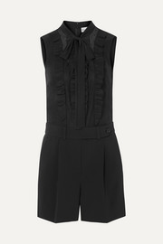 REDValentino Tuta ruffled crepe, silk crepe de chine and point d'esprit tulle playsuit