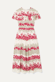 REDValentino Ruffled floral-print crepe de chine midi dress