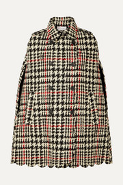 REDValentino Double-breasted scalloped houndstooth wool-blend bouclé cape