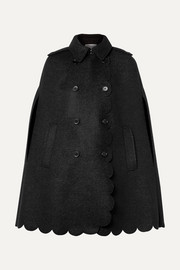 REDValentino Double-breasted scalloped wool-blend bouclé cape