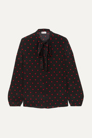 REDValentino Pussy-bow printed silk crepe de chine blouse