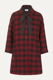 REDValentino Bow-detailed checked tweed coat