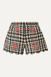 REDValentino Scalloped houndstooth wool-blend bouclé shorts