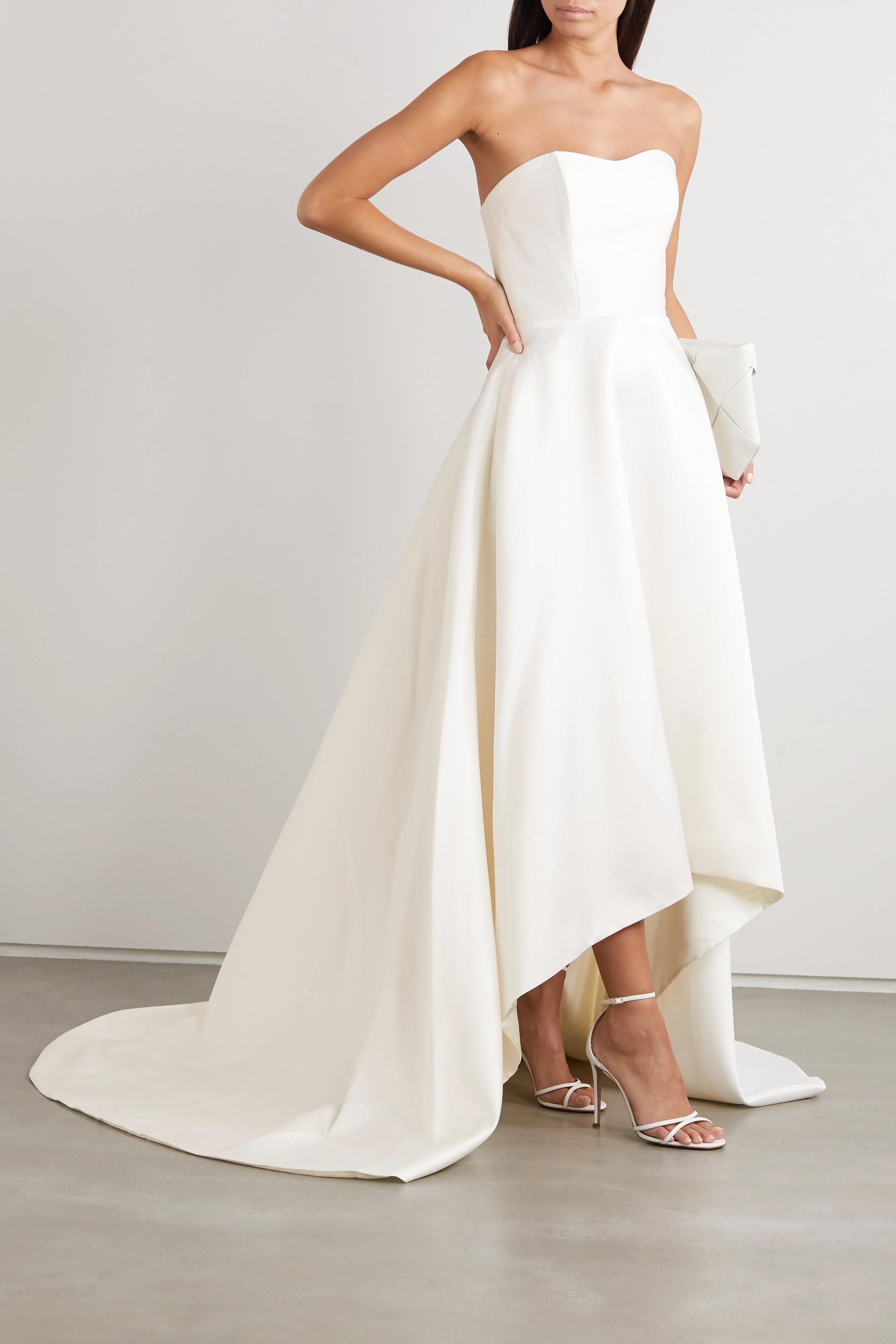 Halfpenny London Jackson strapless asymmetric duchesse-satin gown