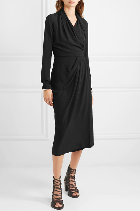 Draped crepe wrap dress