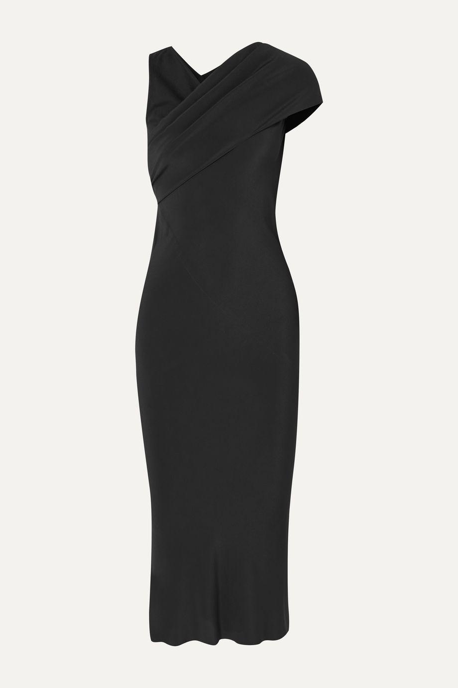 Rick Owens Asymmetric draped crepe and cotton-jersey midi dress