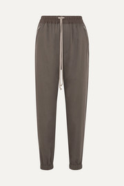 Cotton-trimmed wool track pants