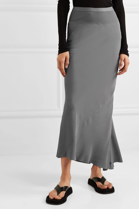 Ribbed knit-trimmed crepe de chine maxi skirt
