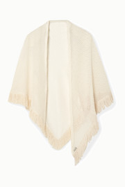 Safi fringed crocheted cotton-blend wrap