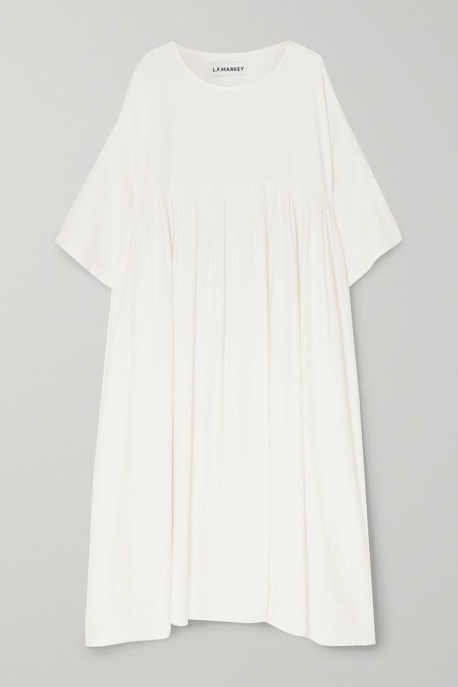 L.F.Markey Robe oversize plissée en lin flammé Mega