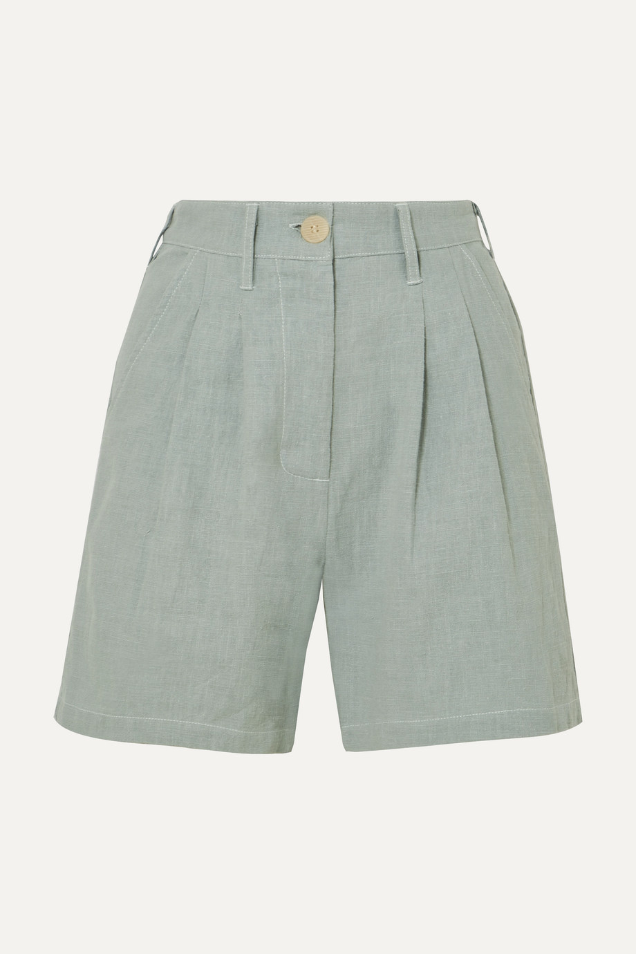 L.F.Markey Pleated linen and cotton-blend shorts