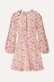 Zimmermann Goldie cutout floral-print linen and cotton-blend mini dress