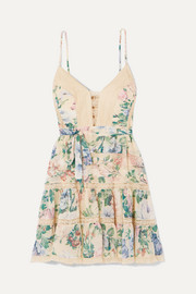 Zimmermann Verity lace-trimmed floral-print cotton and silk-blend chiffon mini dress