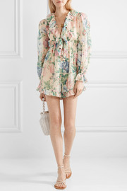 Verity ruffle-trimmed floral-print cotton and silk-blend chiffon playsuit