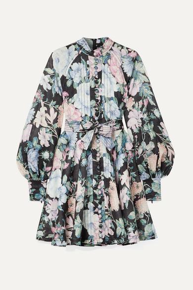 Zimmermann Beachwear Verity Roulou belted floral-print linen dress