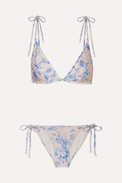 Verity Floral Print Triangle Bikini by Zimmermann