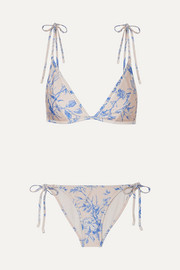 Zimmermann Verity floral-print triangle bikini