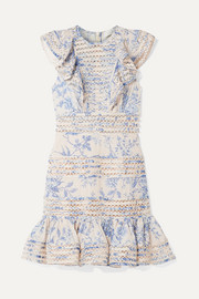 Zimmermann Verity lace-trimmed floral-print fil coupé cotton mini dress