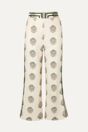 Zimmermann Verity cropped grosgrain-trimmed floral-print linen flared pants