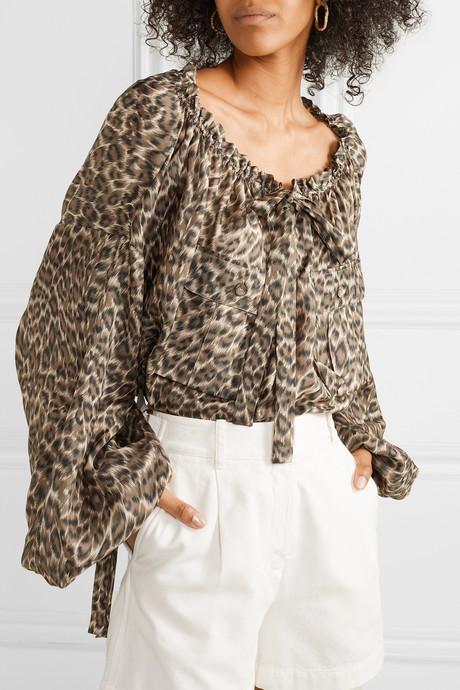 Suraya gathered leopard-print silk-charmeuse blouse