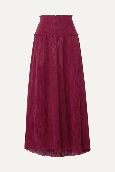 Suraya Shirred Crinkled Ramie And Cotton Blend Midi Skirt by Zimmermann