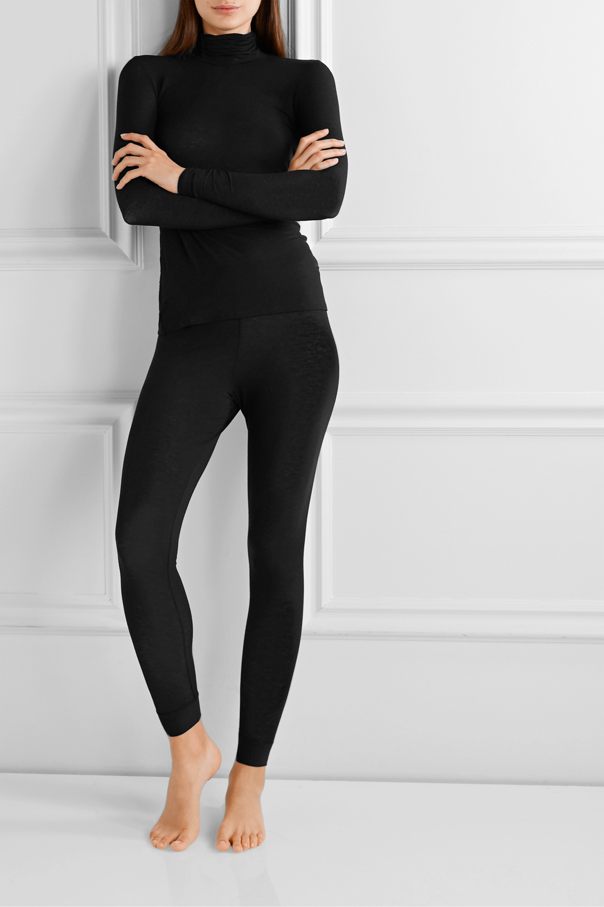 Commando Stretch-modal and cashmere-blend turtleneck sweater