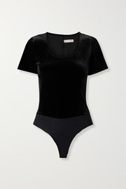 Commando Stretch-velvet and jersey thong bodysuit