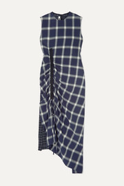 McQ Alexander McQueen Draped paneled checked flannel dress