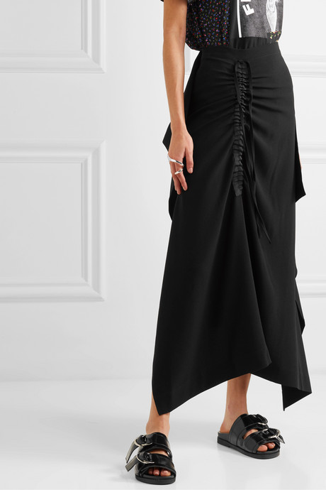 Asymmetric draped crepe skirt
