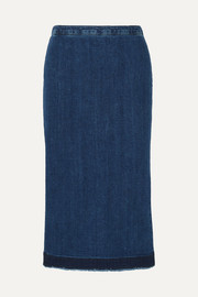 Frayed denim midi skirt
