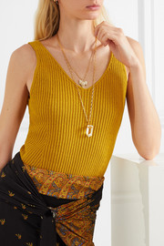 Reiki gold-plated crystal necklace