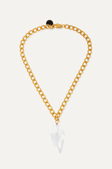 SIRCONSTANCE   Sirconstance - Gold-Plated Crystal Necklace - One Size   Goxip