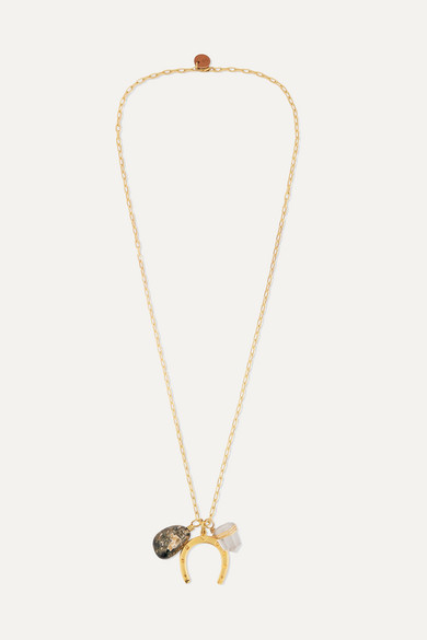 SIRCONSTANCE   Sirconstance - Get Lucky Gold-Plated Jasper And Crystal Necklace - One Size   Goxip