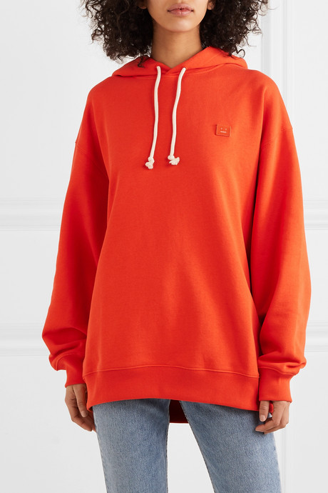 Farrin Face oversized appliquéd cotton-jersey hoodie
