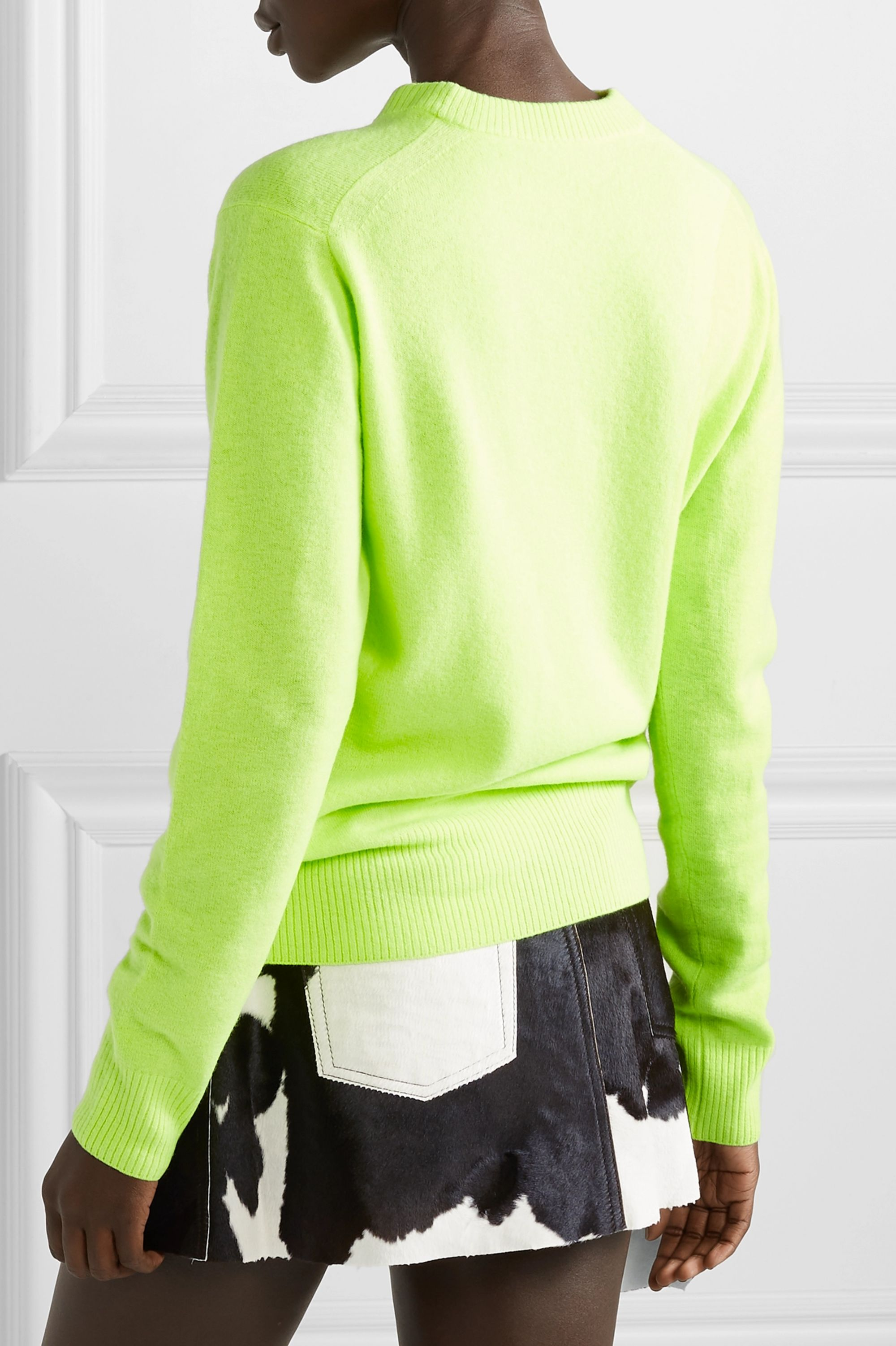 Acne Studios Nalon Face appliquéd neon wool sweater