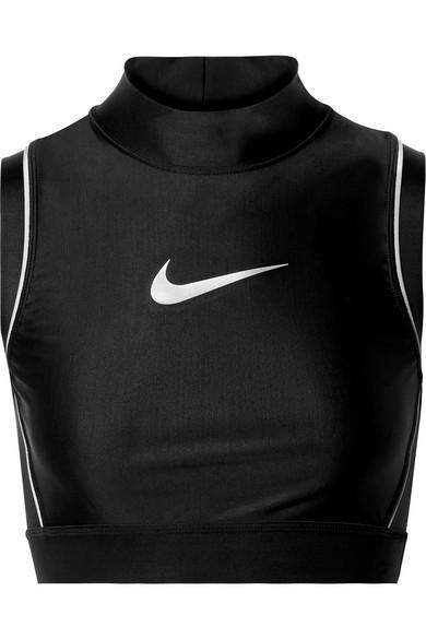 Ambush Nrg Cropped Printed Stretch-Jersey Top in Black