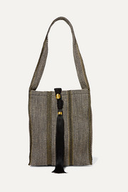 Juta tasseled metallic striped jute tote