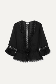 Edda crocheted lace-paneled cotton-blend top