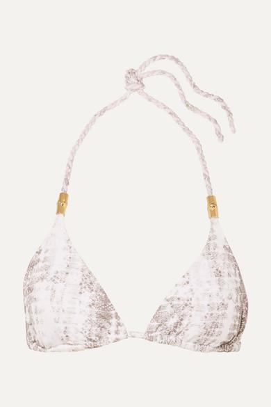 HEIDI KLEIN | Heidi Klein - Snake-Print Triangle Bikini Top - Gray | Goxip